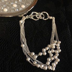 Silver Bracelet with 6 Strands Round Beads 925